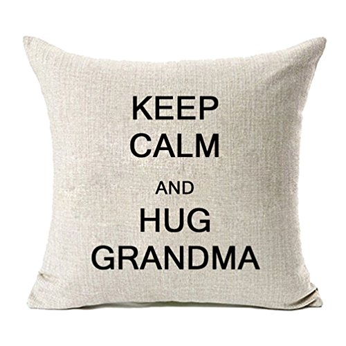 MFGNEH Keep Calm and Hug Grandma Cotton Linen Pillow Covers, Throw Pillow Case Cushion Cover 18 x 18,Mom Gifts,Mom Birthday -