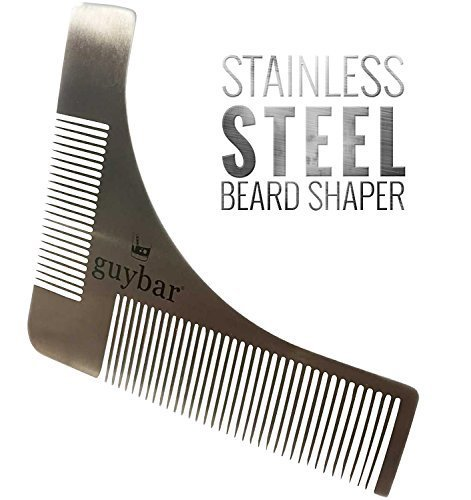 Guybar Beard Shaper – Grooming Template and Comb to Create Perfect Curves and Lines for Your Beard, Goatee and Neck – By Guybar