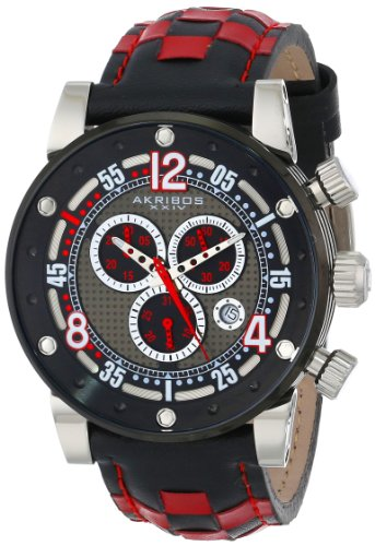 Akribos XXIV Men's AK612RD Explorer Swiss Chronograph Stainless Steel Black and Red Checkered Leather Strap Watch