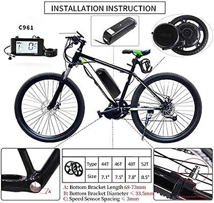 GGD Kit De Conversión Eléctrica De La Bicicleta Kit De Conversión De 36V 250W Bicicleta Eléctrica con Batería De 36V E-Bici,36V 10.6Ah-36V250W52T: Amazon.es: Hogar