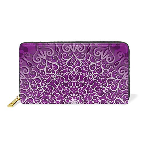 And Around Organizer Zip Mandala Hippie TIZORAX Womens Clutch Purple Wallet Handbags Purses 10nHp
