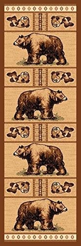 2X7 Runner Country Theme Large Bear Bears Brown Rug by Persian Rugs