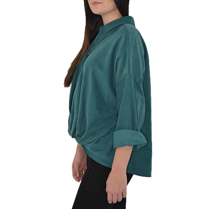 494a069a Poche 1913 Faux Tuck Oversized Button Down Shirt in Hunter Green at Amazon  Women's Clothing store: