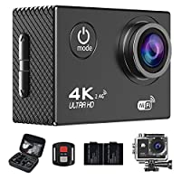Action Camera,4K WiFi Ultra HD Waterproof Sport Camera 2 Inch LCD Screen 16MP 170 Degree Wide Angle with SONY Sensor Rechargeable Battery and Portable Package