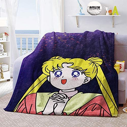 Zenghh Sailor Moon Blanket Adult Shawl Blanket Light and Super Soft Babies Lie and Keep The Pacifiers Lovely Toddler Sweet Childhood Microfiber Moon Goddess Bed Sheet Flannel Velvety Plush Blanket