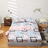Fitted Sheet Bedsheet Plus Two Pillowcases Used for Bedding Duvet Cover Set Microfiber MJ Twin Full Bed Fresh Flower Print Design for Kids 3pcs Sheet Sets (Cloud Checker, Pink, Queen 70''x79'')