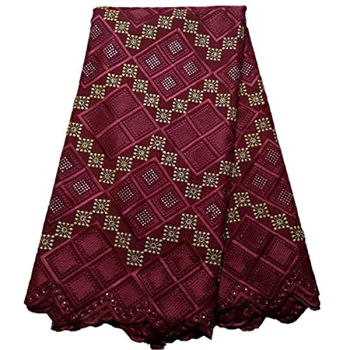 Cotton Lace Fabric Swiss Voile Lace with Stones Latest African Lace Fabric for Wedding Dress 5Yards,Pl1200108S6