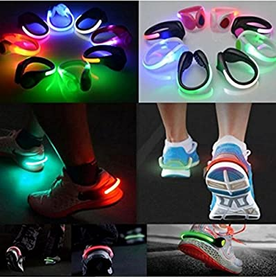 LED Luminous Shoe Clip Night Light Safety Warning Cycling Running Sport Light Blue Light & Black Shell by MarbellStore