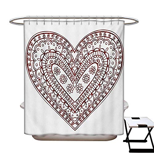(Henna Shower Curtain Collection by Paisley Doodle in Heart Shapes Little Blossoms Swirls Curves Hippie Sixties Influence Patterned Shower Curtain W36 x L72 Ruby White)