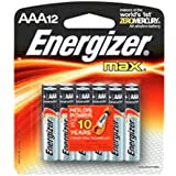 Energizer 04878 - AAA Cell 1.5 volt MAX Battery (12 pack) (E92BP-12 )