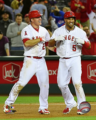 MLB Mike Trout & Albert Pujols Los Angeles Angels 2015 Action Photo (Size: 8