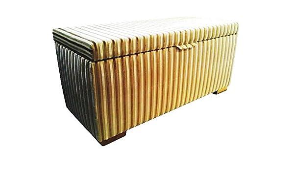 Caja metálica para galletas baúl para diseño de rayas beige y ...