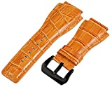 24mm Orange Croco Leather Replacement Watch Band (PVD Buckle) - Made for Bell & Ross