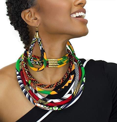 African Print Ankara Bib Necklace /_ Handmade African Prints Fabric Necklace /_ Collier en Tissu Africain