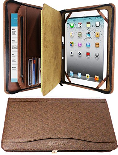 Zipper Binder Business Card Organizer Leather Padfolio iPad Tablet Sleeve Writing Pad Portfolio Folder Interview Conference Meeting Professional Executive Resume Legal Letter Documents Holder (Brown) - Leather Legal Document