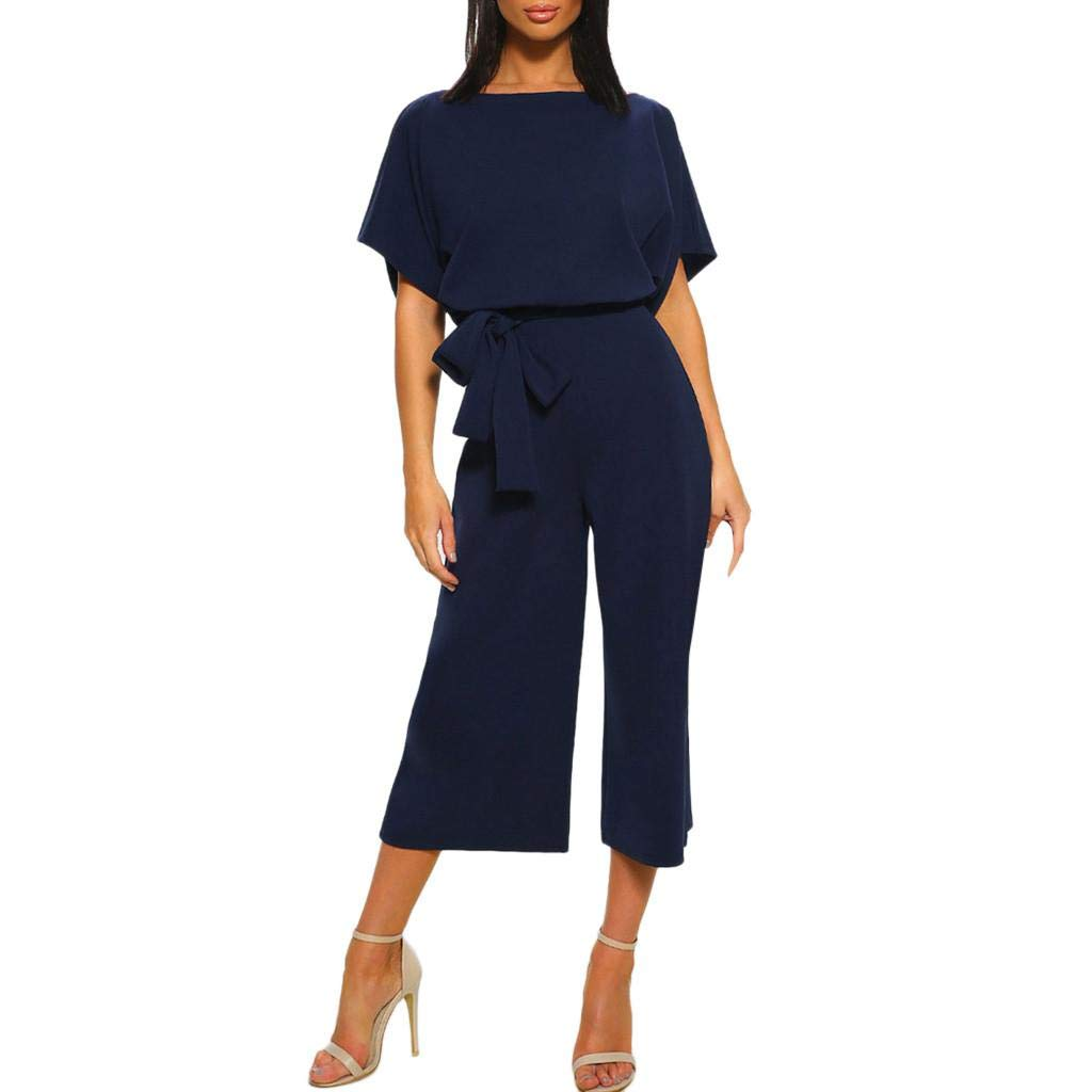 Women Casual Short Sleeve Jumpsuit Rompers Summer Playsuit Clubwear Straight Leg Overalls Jumpsuit with Belt
