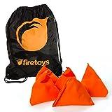 Firetoys Tri-Its UV Juggling Beanbag Set - 5x UV Orange Juggling Pyramids Bag