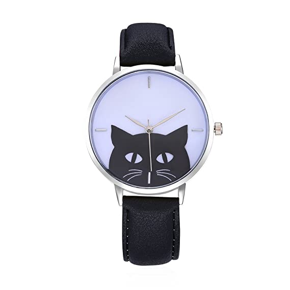 LVPAI Exquisite Fashion Cute Cat Creative Ladies Watches for Women Wrist  Watch (Black) b897790170