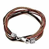 Perepaix RAVE Mens 3 Wrap Brown Raw Leather Burgandy Wax Cord Bracelet