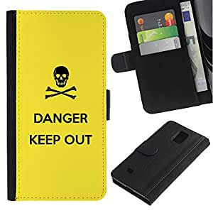 """Samsung Galaxy Note 4 IV / SM-N910 , la tarjeta de Crédito Slots PU Funda de cuero Monedero caso cubierta de piel ("""" Danger Sign Symbol Black Skull Yellow"""")"""