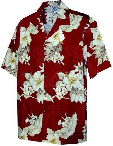 Pacific Legend Plumeria Hibiscus Mens Hawaiian Shirts Matching Pocket Red 4XL