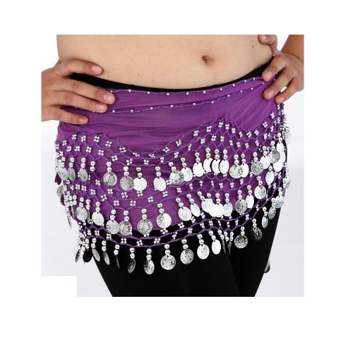 (Buy Home Chiffon Dangling Gold Coins Belly Dance Hip Skirt Scarf Wrap Belt (Purple))