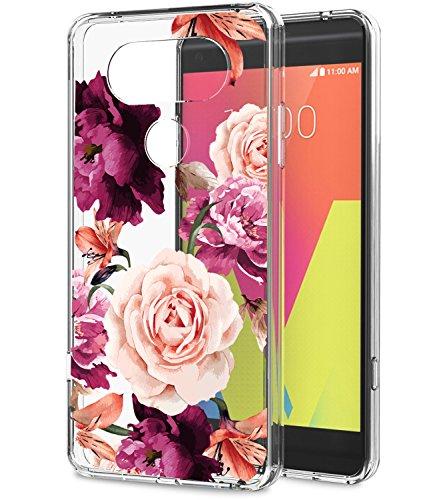 LG V20 Case, V20 Case with Flowers BAISRKE Slim Shockproof Clear Floral Pattern Soft Flexible TPU Back Cover for LG V20 [Purple Pink]