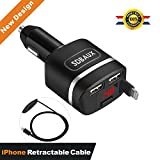 SDBAUX Car Charger(4.8A 24W) - Quick Car Charger With 2.8 FT USB Retractable Cable[Apple MFI Certified]For iPhone 6 7 8 X - 2 USB Smart Port Fast Charger For Samsung Galaxy S8 S8+ LG G6 iPad Pro Portable