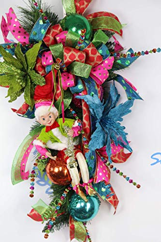 Christmas Elf Fiesta Door Swag, Holiday Poinsettia Wreath, Whimsical Wall Decor, Sparkle and Shine Floral Arrangement, Carnivale Adornments ()