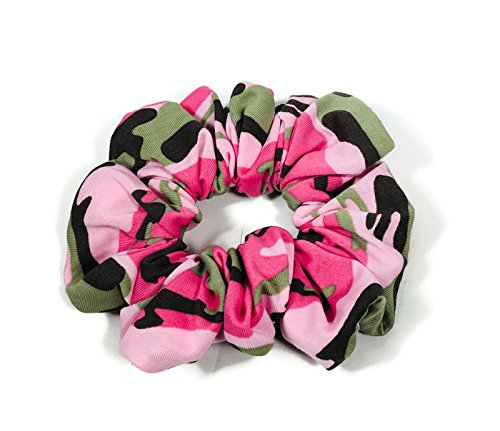 Camo Scruncies Camouflage Scrunchies Pink Camo Scrunchie Green Camo Scrunchie Retro Scrunchies 100% Cotton Scrunchies Set of 2
