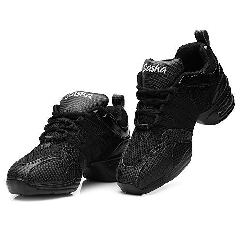 Jazz Deportes Dance De Hroyl Mujer Breath Baile Shoes Blanda Suela Zapatillas Hip Hop Negro B55 KYfvvwq4y