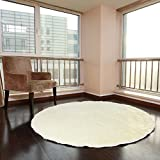 "Floor Mats Round Shaggy High-pile Floor Rugs Modern Bedroom Floor Mat Solid Yoga Mat (100cm/39.3"", Ivory)"