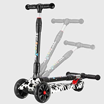 Amazon.com: LJHBC - Patinete con ruedas, altura ajustable, 4 ...