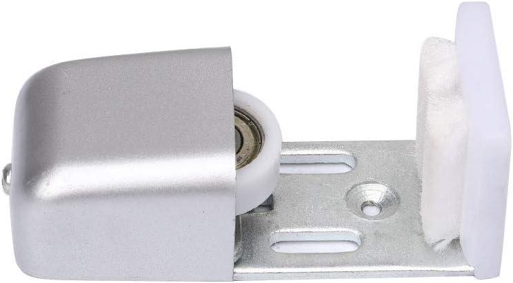 Guía de puerta con marco automático, ajustable, rodillo de guía de suelo, ultra suave, totalmente ajustable, para hardware de puerta automático, color plateado