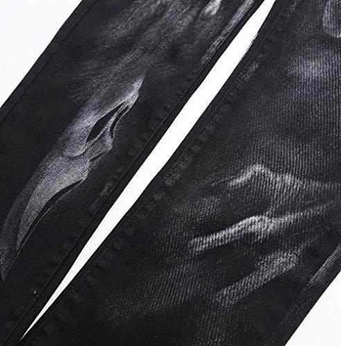 Ropa Pantalones Casuales Pantalones Plus Los Denim Hombres Pantalones Pantalones Skull Negro De Jeans 3D Fit Size Impresos Slim Strech 1gWRqwzxWf