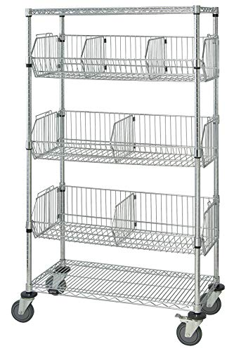 Dispensing Mobile Unit (Quantum Storage Systems M1836BC6C 5-Tier Mobile Wire Basket Unit with 3 Baskets, Chrome Finish, 18