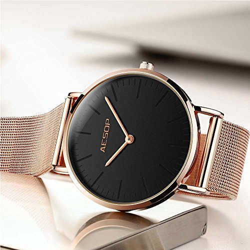 Ultra Thin Watches for Women,Rose Gold Ladies Watch Water Resistant Mesh Band Luxury Sports Womens Watches Analog Japanese Quartz Wrist Watches Female Watches on Sale,Black Dial,Big Face,AESOP Brand by XIN LINGYU (Image #4)