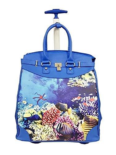 Trendy Flyer Computer//Laptop Rolling Bag 2 Wheel Case Taj Blue