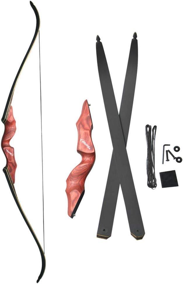 MILAEM「霊雲」:30~60lbs 狩猟弓 リカーブボウ 伝統的な弓 木製 アーチェリー用 狩猟 練習 右利きリカーブボウ 取り外し可能  組立簡単 赤い 35LBS