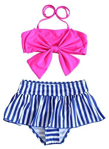 Cute Baby Bikini Big Bowknot Stripe Rose 2 Pieces Skirt Swimwear Sets, Large, Rose