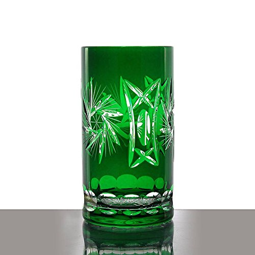 Longdrink, water glass ''Schleuderstern'' (340ml) green, lead crystal glass, modern style, glass (CRISTALICA KINGDOM powered by CRISTALICA)