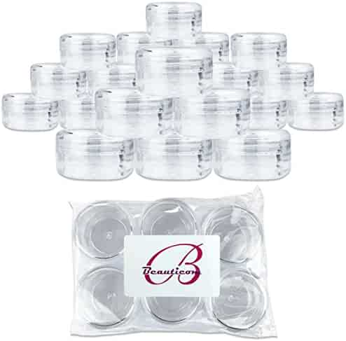 (Quantity: 60 Pieces) Beauticom 15G/15ML (0.5oz) Round Clear Jars with Screw Cap Lid for Pills, Medication, Ointments and Other Beauty and Health Aids - BPA Free