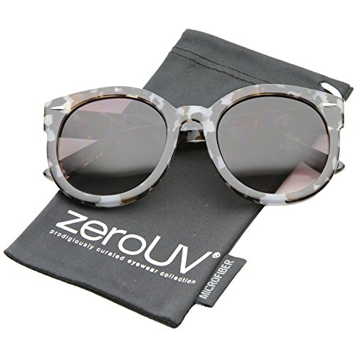 zeroUV - Modern Block Tortoise Thick Frame Gradient Lens Oversize Round Sunglasses 52mm (Grey-Block-Tortoise / - Valley Sunglasses