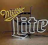 Miller Lite Neon Sign 17''x14'' inches Bright Neon Light for Mancave Beer Bar Pub Garage