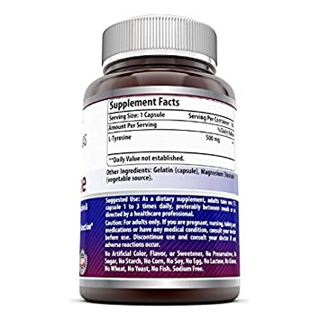 Amazing Formulas L Tyrosine – 500 mg, Capsules Non-GMO – Supports Mental Alertness, Energy, Focus, Healthy Glandular Function and Balance 180 Count Pack of 3