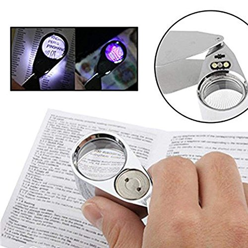Folding Illuminated 30X Magnifier with 2 LED Light Reading Jewelry Eye Small Handheld Magnifying Professional Loupe Glass by ITODA (Image #3)