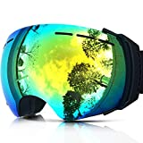 IceHacker Colorful Lens Lagopus Professional Snowmobile Snowboard Skate Ski Goggles with Detachable Lens and Wide Angle Double Lens Anti-fog Big Spherical Unisex Adult Snow3500 (Black)