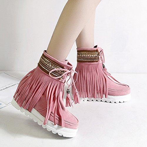 ... YE Stiefeletten Boots Schnürung Gefütterte Ankle Rosa Flache Winter mit  und Fransen Damen Bequem Warm Schuhe 003667947b