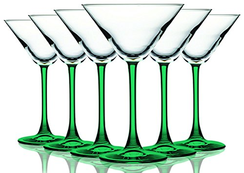 Emerald Green Martini/Cocktail Glasses with Beautiful Colored Stem - 10 oz. set of 6- Additional Vibrant Colors Available by TableTop (Green Cocktail Glasses)