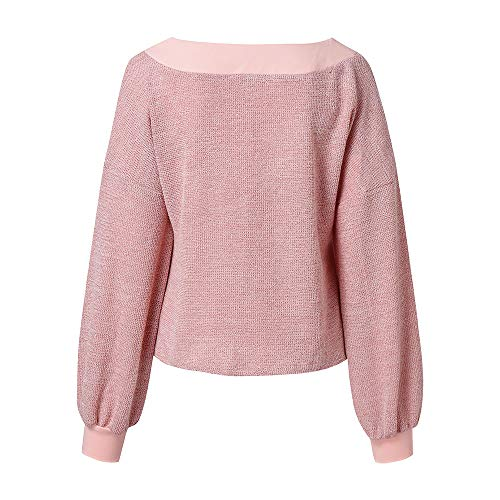 Neck Pull Rose V Automne Long GreatestPAK Blouse Manches Femmes tricots Hauts Casual Lanter Pull ZXgqqB